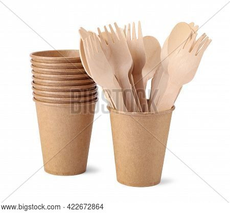 Disposable Paper Cups And Wooden Forks And Spoons Isolated On White Background. Eco Friendly Disposa