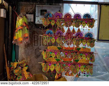 Stock Photo Of Beautiful Handmade Colorful Door Hanging Decorative Item Toran. Toran Is A Traditiona