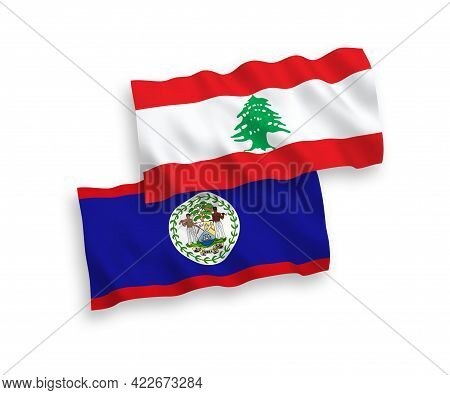 National Fabric Wave Flags Of Belize And Lebanon Isolated On White Background. 1 To 2 Proportion.