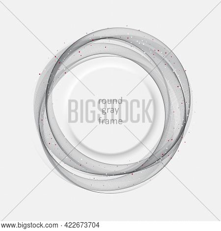 Gray Round Wavy Transparent Smoky Wave Background.abstract Frame