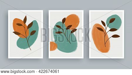 Abstract Wall Art Painting With Pastel Colors Background. Minimalist Geometric Elements And Hand Dra