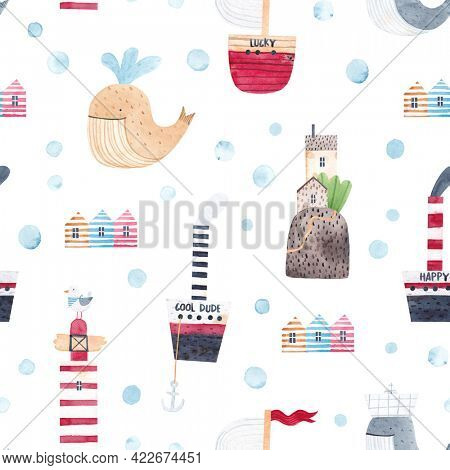 Watercolor seamless pattern. Childish texture with beach houses, ships, seaport village and cute whales. Creative childish background for fabric, textile, nursery wallpaper. Hand drawn.