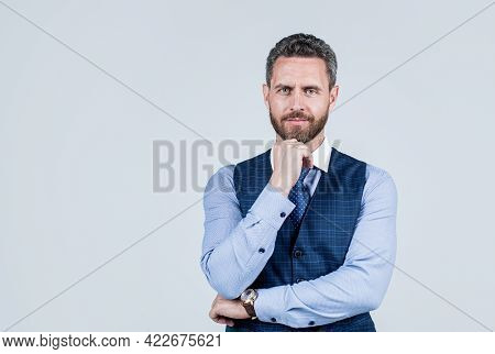 Business Man In Formalwear Casual Fashion Style Has Bristle, Copy Space, Businessperson