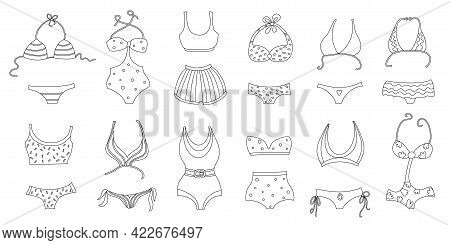 Collection Of Silhouettes Of Women Swimwear Isolated On White Background. Set Of Different Types Of