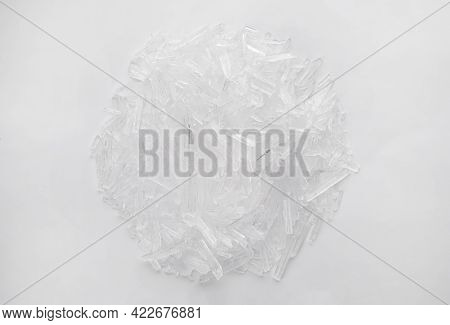 Heap Of Menthol Crystals On White Background, Top View