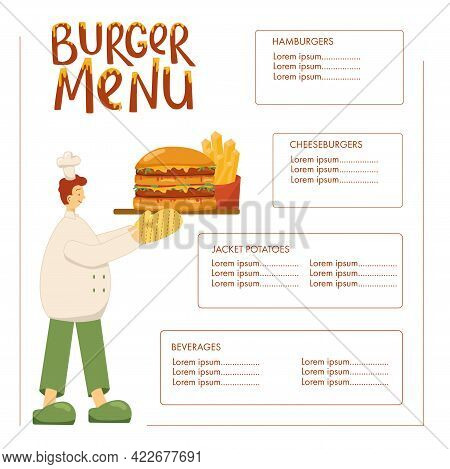 Burger Menu With Cook Chef, Hamburger, French Fryies. Handwritten Sign For Fast Food Restaurant. Vec