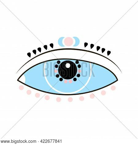 Esoteric Boho Eye Icon With Moon And Dot. Vector Cartoon Illustration Isolated On White