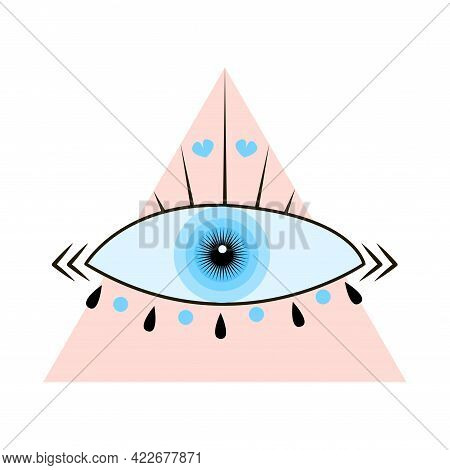 Esoteric Boho Eye Icon Withhearts And Triangle Shapes. Vector Cartoon Illustration Isolated On White