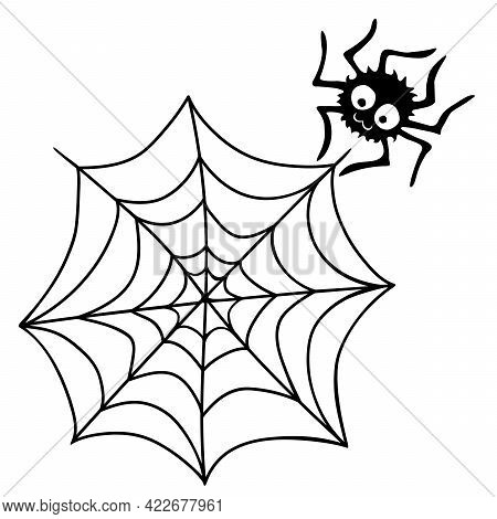 Cute Vector Spider With Cobweb. Hand Drawn Funny Insect In Doodle Flat Style Isolated On White Backg