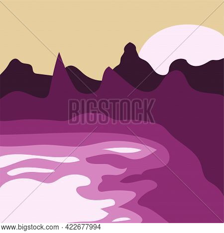 Abstract Minimalist Mountain Landscape At Sunset. Modern Summer Print For Cards, T-shirt Design, Wal
