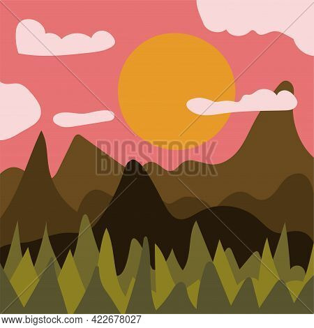 Abstract Minimalist Mountain And Forest Landscape At Sunset. Contemporary Summer Print For Cards, T-