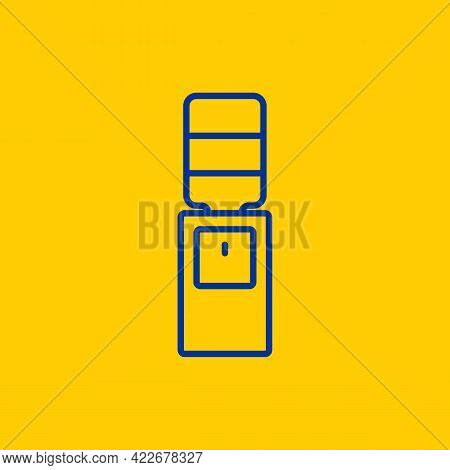 Gallon Or Water Drink Dispenser Blue Line Icon On Yellow Background