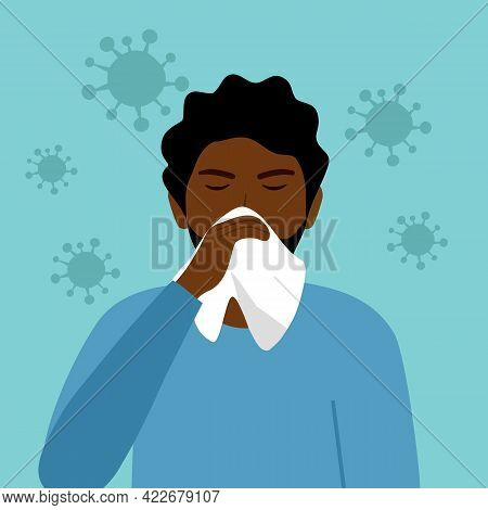 A Black Man Cover His Sneeze With Handkerchief Vector Illustration. Sneezing African Man With Virus