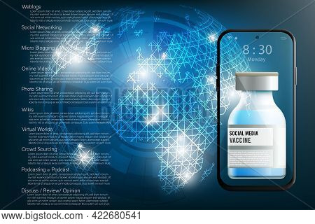 Concept Of Protecting Social Media Information Presented By Bottle Of Vaccine With Smartphone And La