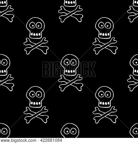 Seamless Pattern With Human Skull And Bones. Primitive Cartoon Style Doodle. Background And Texture