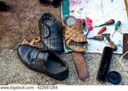 Stock Photo Of Local Indian Cobbler Shop Or Shoe Repair Shop. There Are Number Of Shoe Repair Tool L