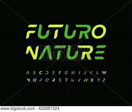 Futuro Alphabet Letter Font. Modern Technology Logo Typography. Minimal Futurism Vector Typographic