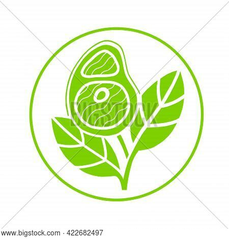 Plant Based Meat Sign Concept. Vegan Product. Steak Grows From Plant Leaves. Green And White Vector