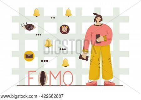 Fomo Concept Lettering. Girl Phone Both Hands Afraid Miss Important Information. Girl Stands Backgro