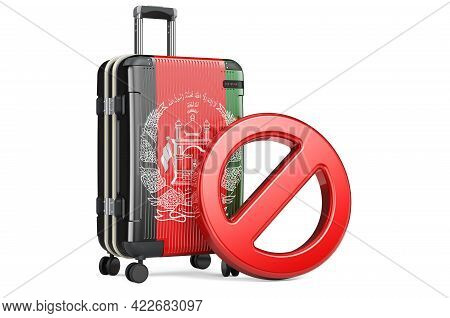 Afghanistan Entry Ban. Suitcase With Afghan Flag And Prohibition Sign. 3d Rendering Isolated On Whit