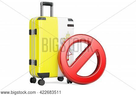 Vatican Entry Ban. Suitcase With Vatican Flag And Prohibition Sign. 3d Rendering Isolated On White B