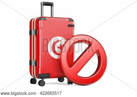 Tunisia Entry Ban. Suitcase With Tunisian Flag And Prohibition Sign. 3d Rendering Isolated On White