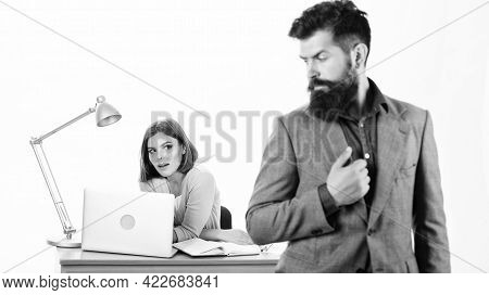 Office Collective Concept. Working Together. Manager Boss Stand In Front Of Girl Busy With Laptop. O