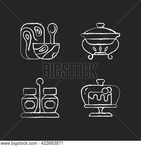 Modern Tableware Chalk White Icons Set On Dark Background. Wooden Tableware For Kitchen. Warming Tra