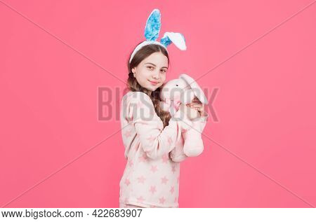 Happy Easter Child Girl In Bunny Rabbit Ears And Pajamas Play With Toy, Easter