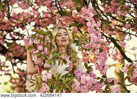 Spring Symbol. Girl Enjoy Sakura In Garden. Cherry Tree. Good Vibes. Floral Aroma. Spring Blossoming