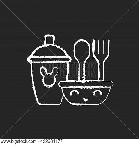 Kids Dinnerware Chalk White Icon On Dark Background. Plates For Children To Eat Comfortably. Learnin