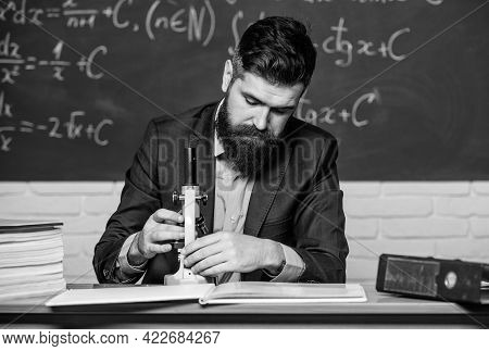 Scientist Exploring. On Way To Success. Teacher Work With Microscope. Science Concept. Scientist Wit