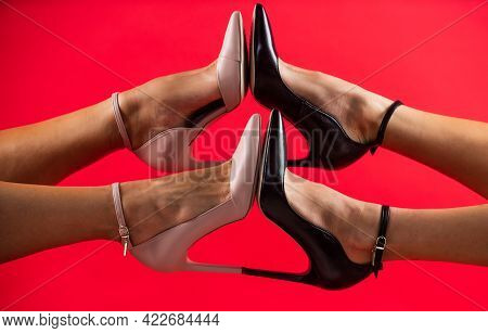 Leather Footgear. Leather Shoe Care. Black Friday Shopping. Sexy Female Legs In Heels.