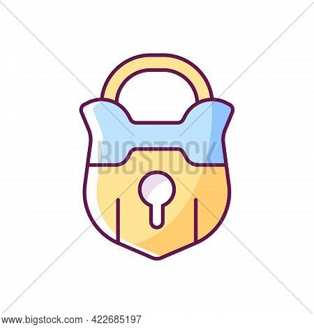 Lock Rgb Color Icon. Vintage Padlock. Unlock Safeguard. Solving Puzzles, Clues For Riddles. Part Of