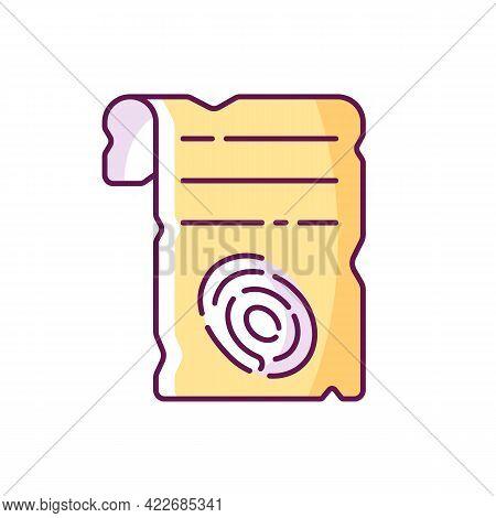 Fingerprints On Piece Of Paper Rgb Color Icon. Criminal Investigation. Vintage Parchment. Clues For