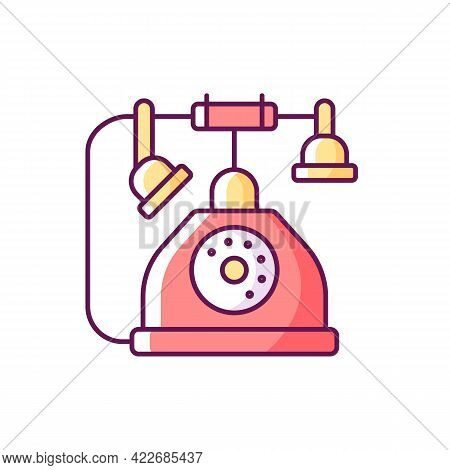Telephone Rgb Color Icon. Old Fashioned Phone. Classic Device With Cord. Solving Puzzles, Clues For
