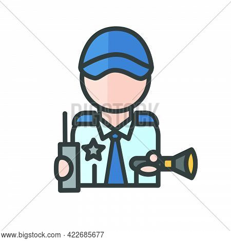Male Safeguard Avatar. Man Working. Profile User, Person. People Icon. Isolated Vector Illustration