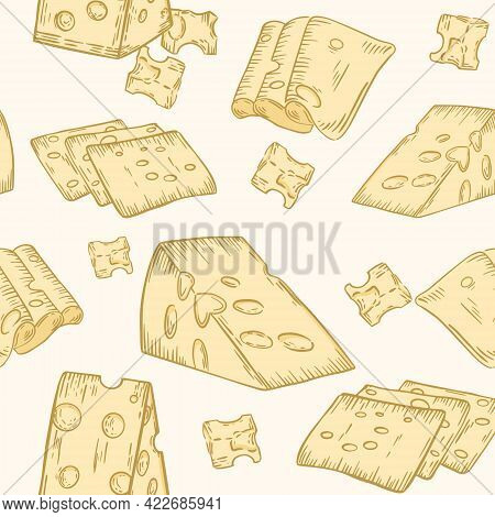 Seamless Pattern With Cheese, Vector. Cheese With Holes, Different Pieces And Slices. Colored Backgr