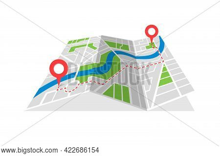 City Street Cartography Folded Map Plan With Gps Location Place Pins And Navigation Red Route Betwee