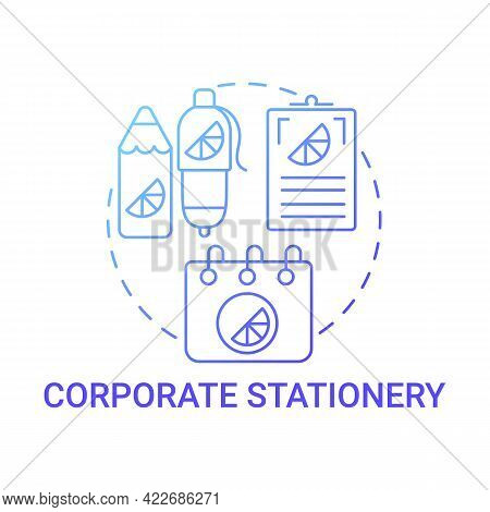 Corporate Stationery Concept Icon. Corporate Branding Touchpoint Abstract Idea Thin Line Illustratio