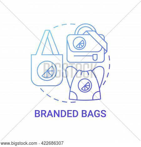 Branded Bags Concept Icon. Corporate Branding Material Abstract Idea Thin Line Illustration. Brand I