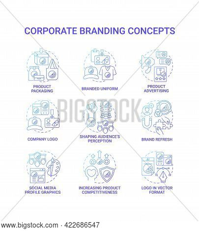 Corporate Branding Concept Icons Set. Shaping Audience Perception Idea Thin Line Color Illustrations