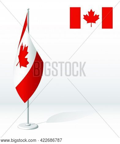 Canada Flag On Flagpole For Registration Of Solemn Event, Meeting Foreign Guests. National Independe