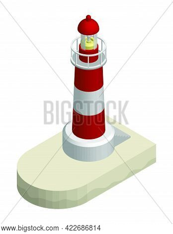 Isometric Sea Marine Coastal Lighthouse. Safe Route In Shipping Area. Realistic 3d Vector
