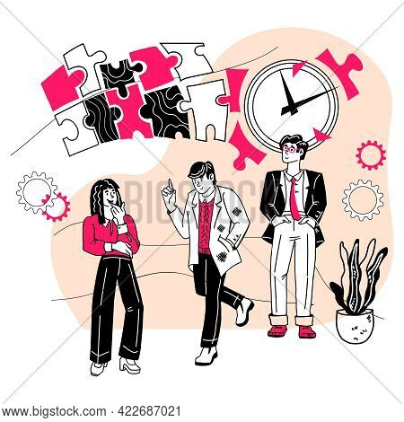 Effective Time Management Concept, Flat Cartoon Vector Illustration On White Background. Tasks Plann