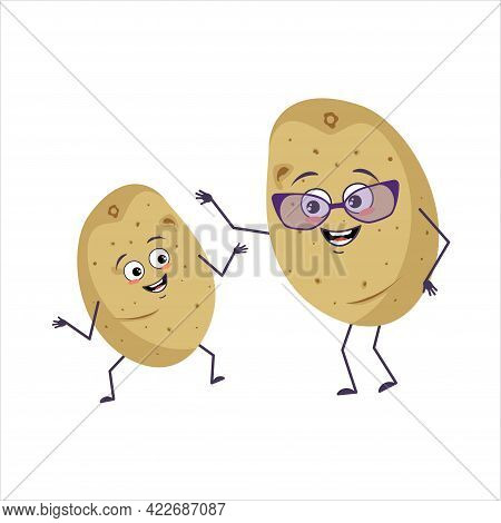 Cute Potato Characters With Happy Emotions And Smiling Face. Funny Grandmother With Glasses And Danc