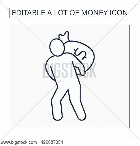 Money Line Icon. Man Holds Big Bag With Money On Back. Bank Robbery. Jackpot. Wealth Concept. Isolat