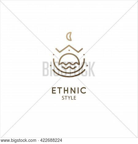 Sacred Geometric Shape Logo. Vector Symbol Of Mountains, Moon Or Sun In Linear Ethnic Style. Alchemy
