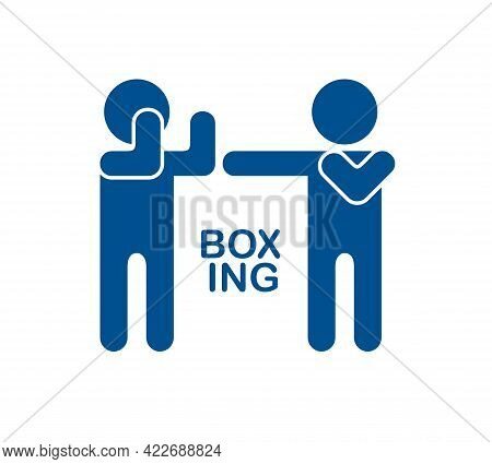 Boxing Simple Vector Icon Isolated On White, Sport Martial Arts, Conflict Fight.