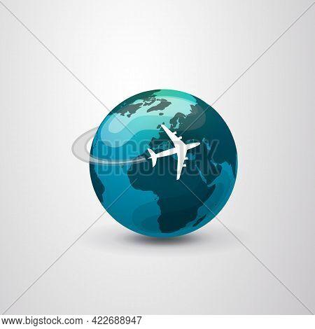 Traveling Around The World - Travel By Airplane - Globe Design